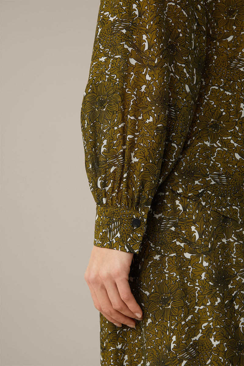 Silk Blouse Printed in Olive