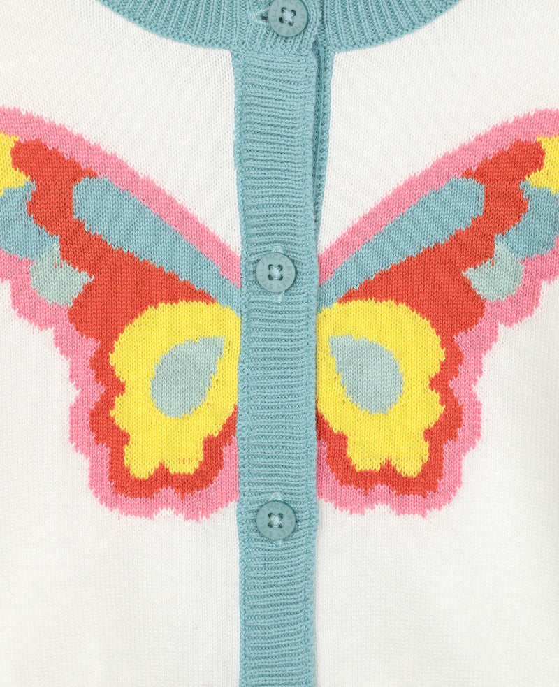 Butterfly Intarsia Knit Cardigan
