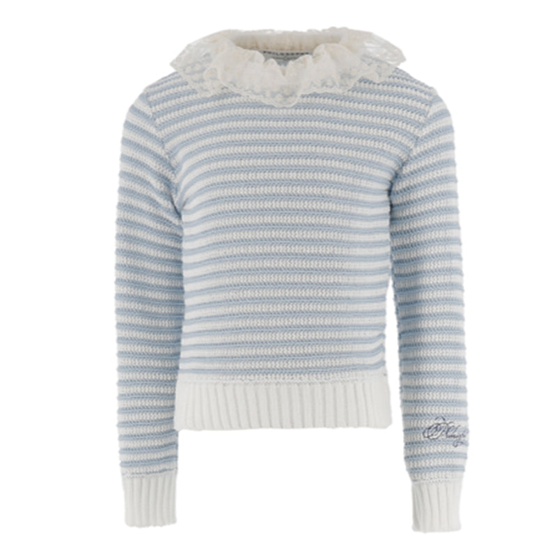 Blue white striped Sweater with Collar
