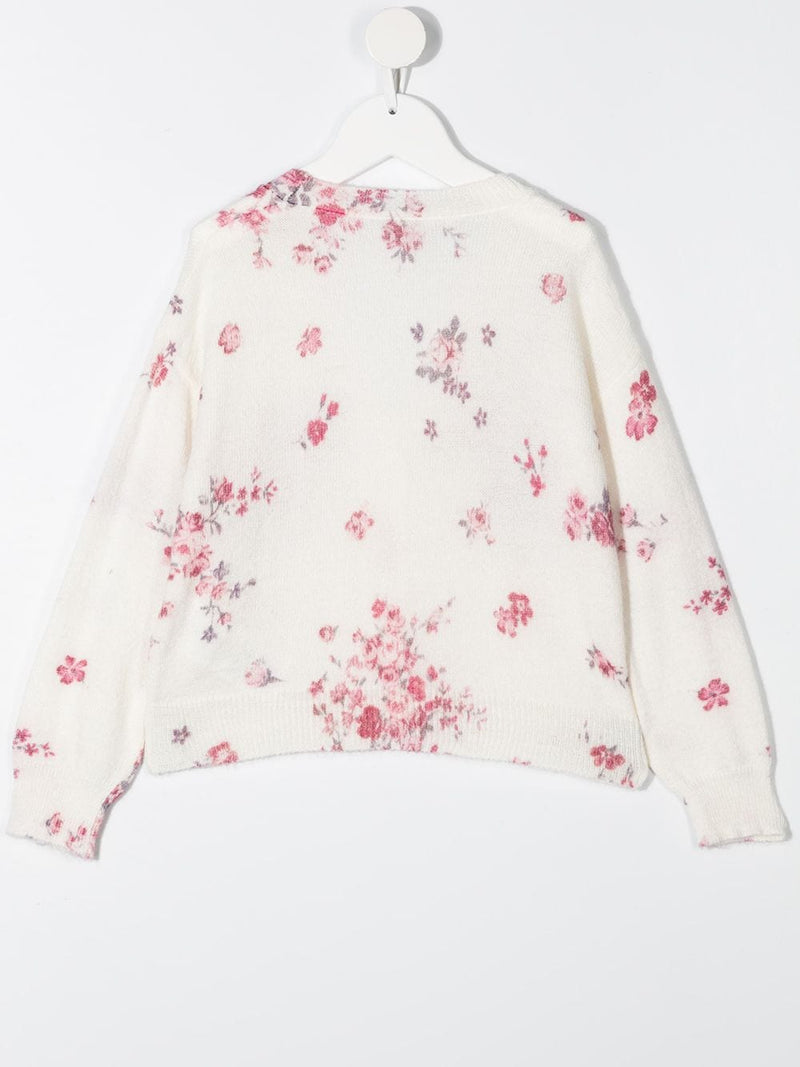Cardigan with Flower Pattern