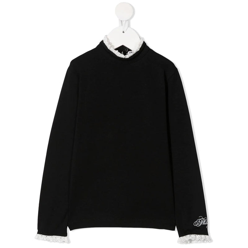 T-Shirt Long Sleeves with Ruffles by Collar