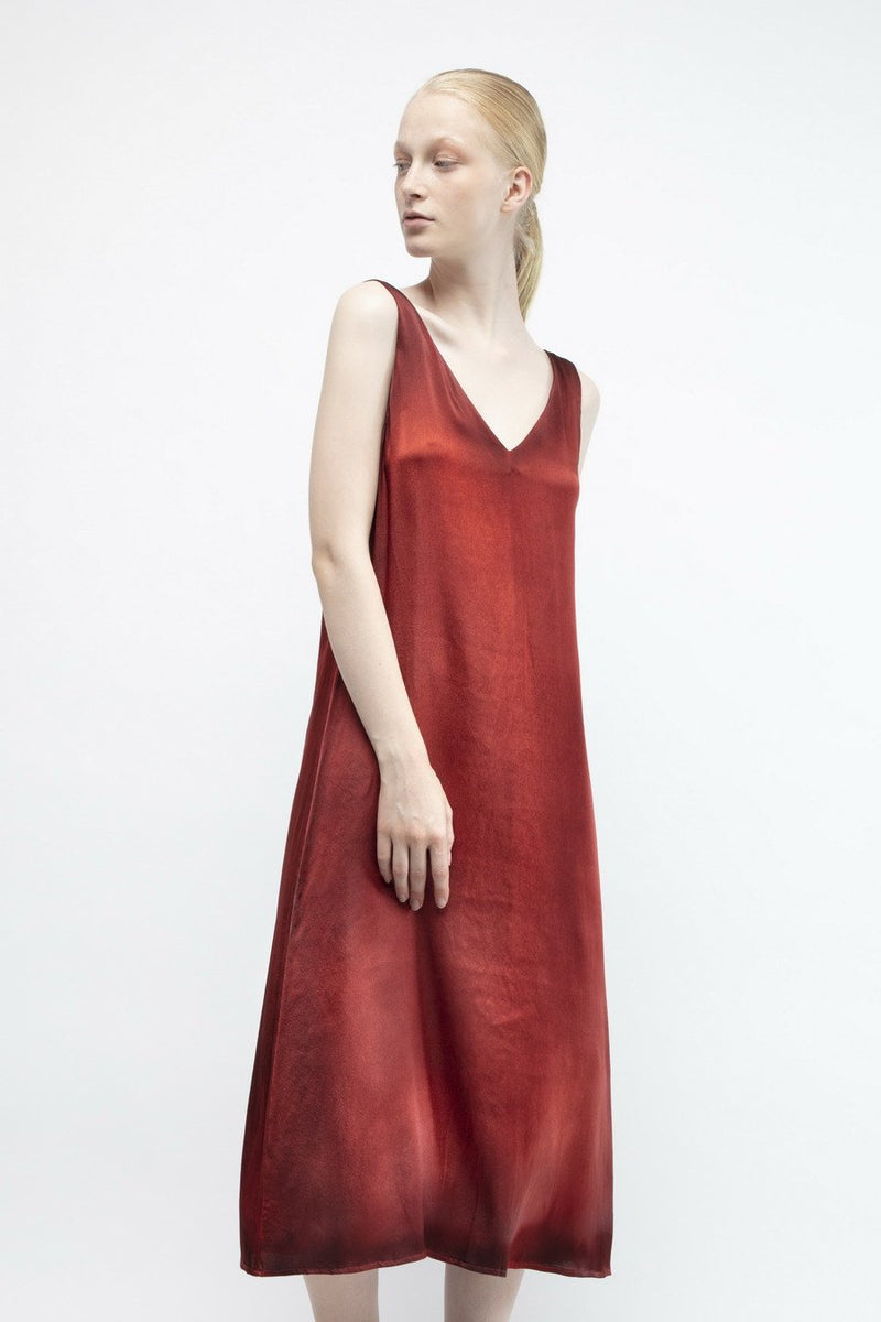 V-Neck Long Dress in Silk