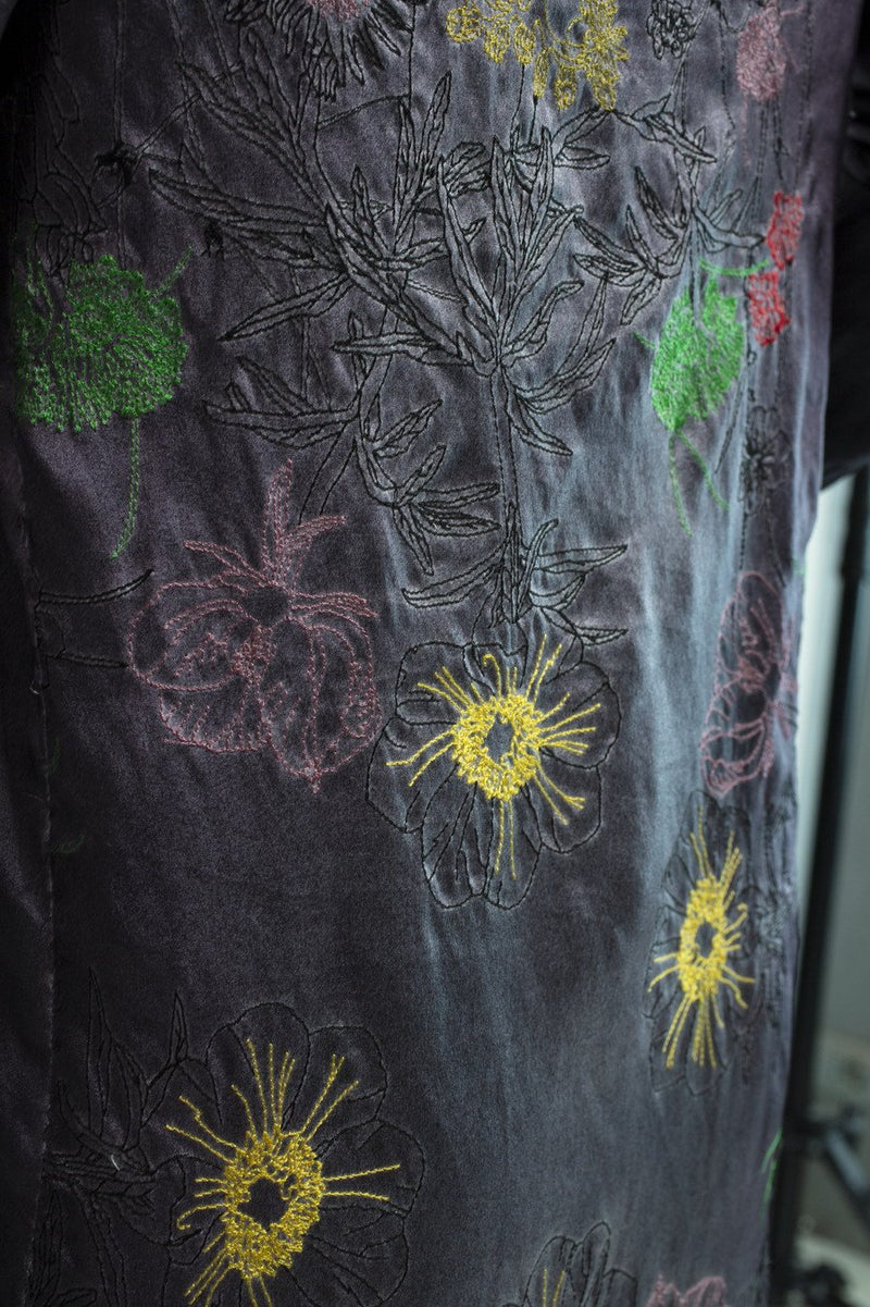 Silk Duster with Poppy embroidery