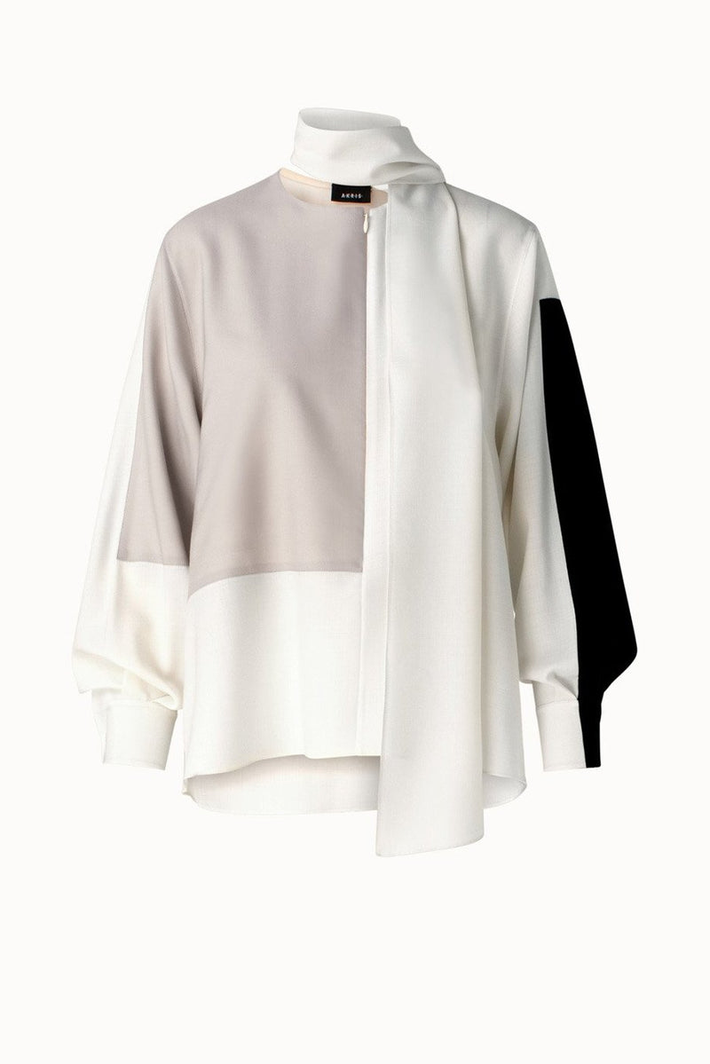 Oversized Bluse aus Wolle in Colorblock mit abnehmbaren Schal