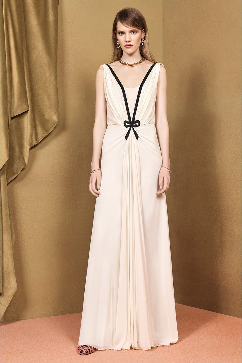Sleeveless Gown Dress with Embroidery