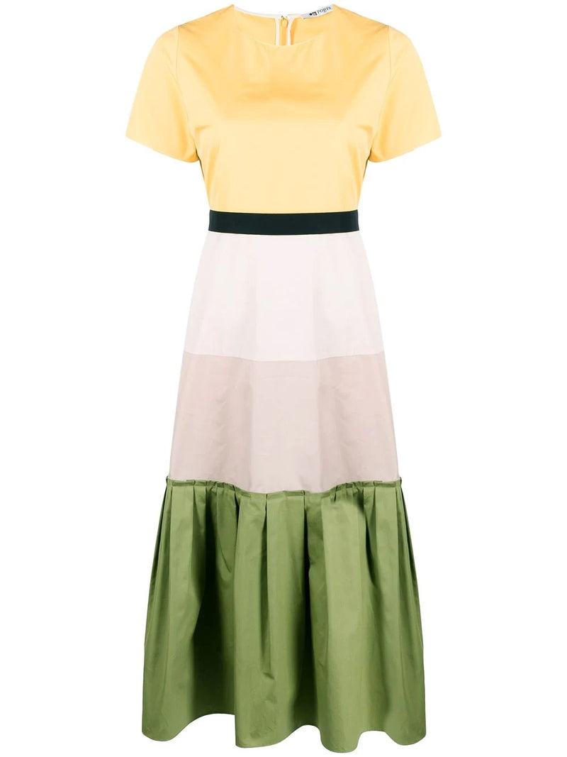 Colour blocking flared dress