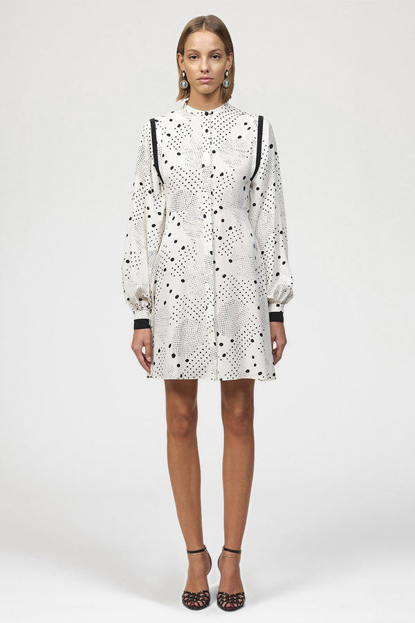 Contrast Polka Dot Shirt Dress