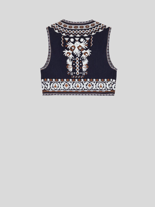 EMBROIDERED WAISTCOAT BLUE