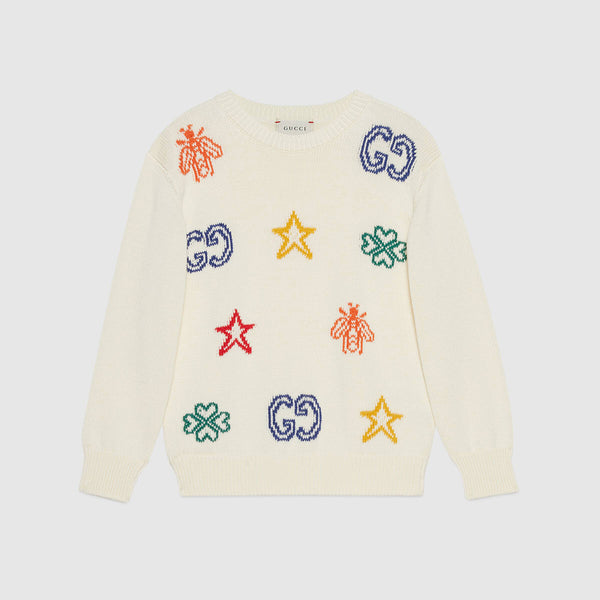 Children's cotton jumper with symbols