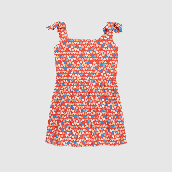Children's poplin dress with GG hearts