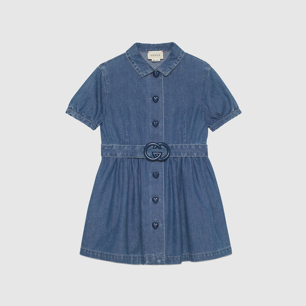 Children's denim dress with Interlocking G