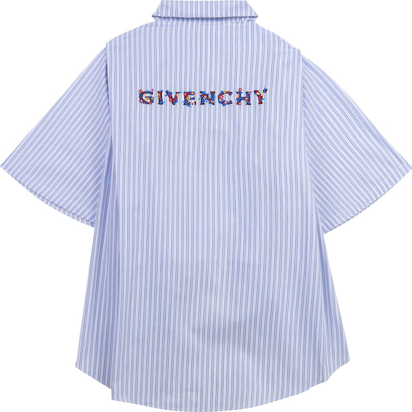 embroidered-logo shirt stripes