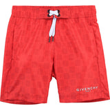 Logo Print Swim Shorts bright red