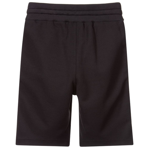 Black Cotton Shorts with Logo
