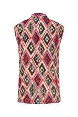 Sleeveless Printed Silk Top Multicolor