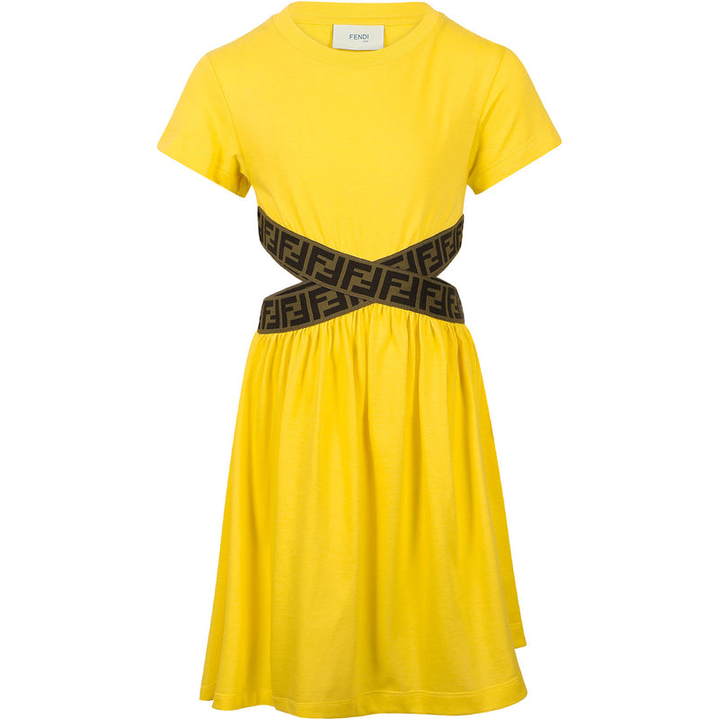 Crossed Belt Straps Dress in Yellow