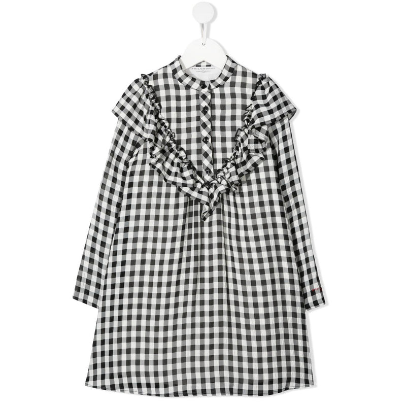 Dress with Check-Pattern black white