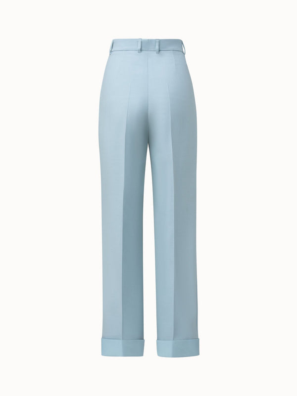 Pleated Cuffed Wool Double Face Pants