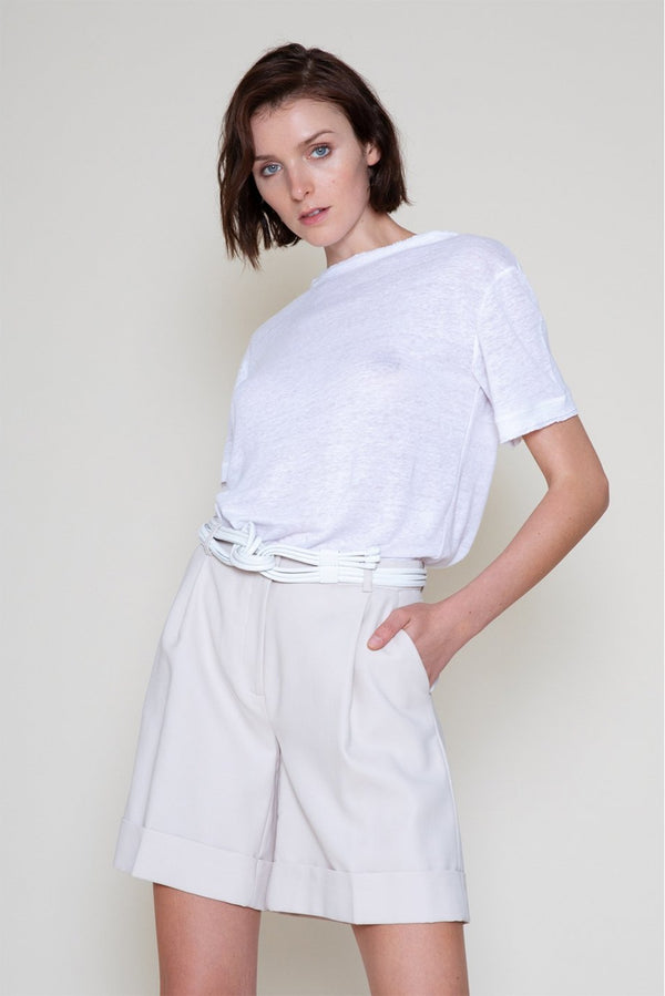 Linen Tee with Round Neck