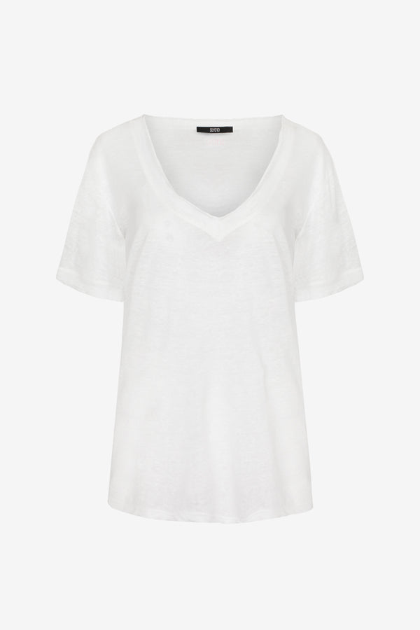 Linen Tee with V-neck