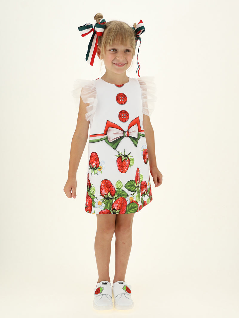 Crêpe dress with strawberry print