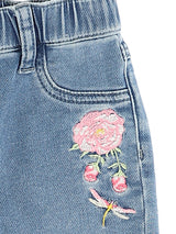 Jeans with light pink flower embroidery