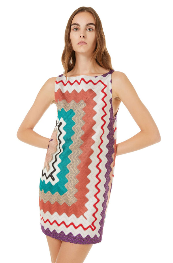 Short-Sleeved Dress Multicolor Pattern