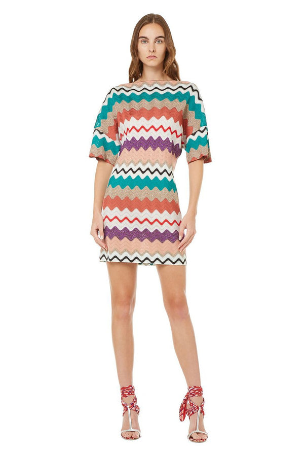Mini Dress with Chevron Pattern