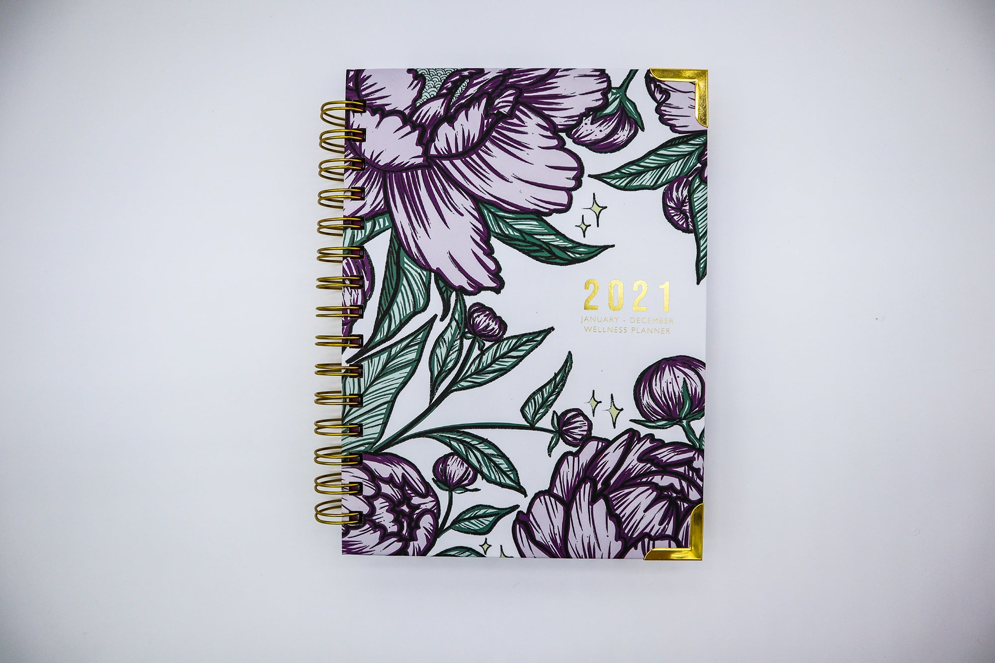 gold planner, pretty planner, wellness planner
