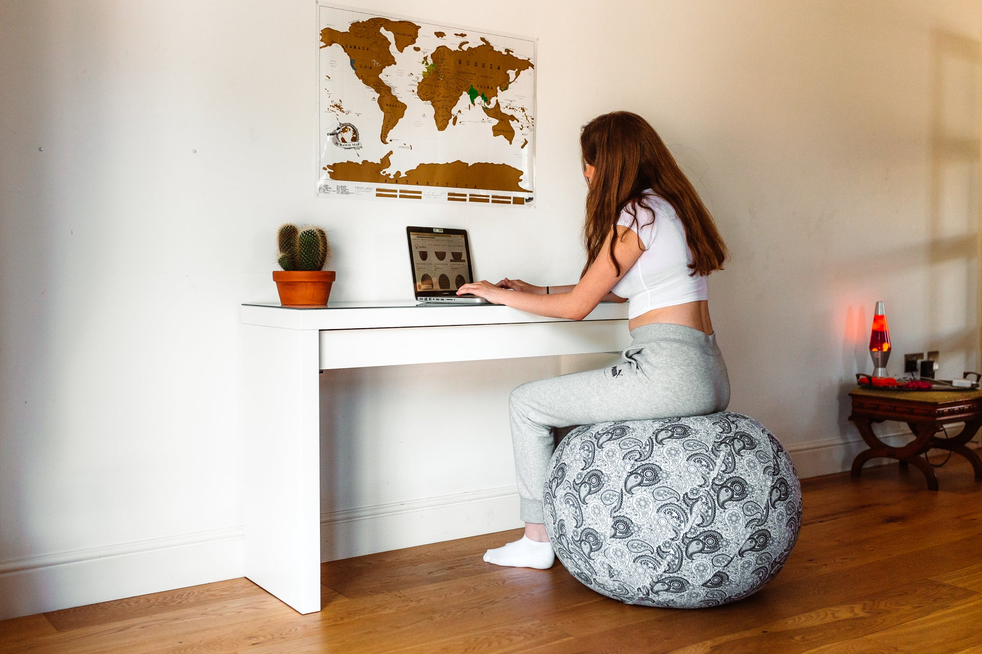 work from home with yoga ball chair