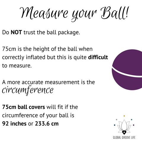 75cm Balance Ball / Yoga Ball Cover: Grey