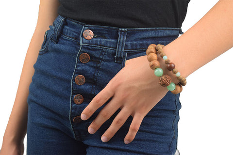 Banyan Seed and Amazonite Wrist Mala Accessories - Global Groove Life - 5
