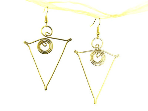 Egyptian Pyramid Brass Earrings - Global Groove Life