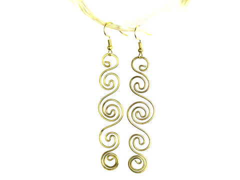 Long Spirals Brass Earrings - Global Groove Life
