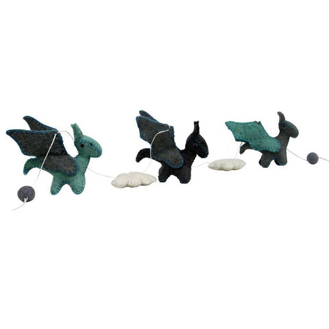 Felt Dragon Garland - Blue Colors - Global Groove - Global Groove Life