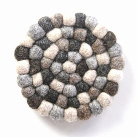 Hand Crafted Felt Ball Trivets from Nepal: Round, Greys - Global Groove (T) - Global Groove Life