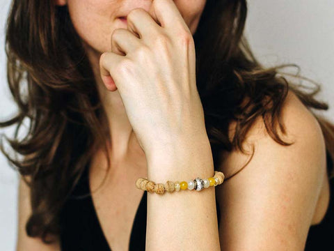 Banyan Seed, Citrine and Padme Hum Wrist Mala - Global Groove Life