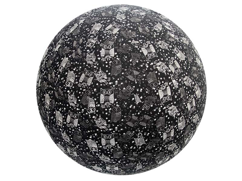65cm Balance Ball / Yoga Ball Cover: Black Owls