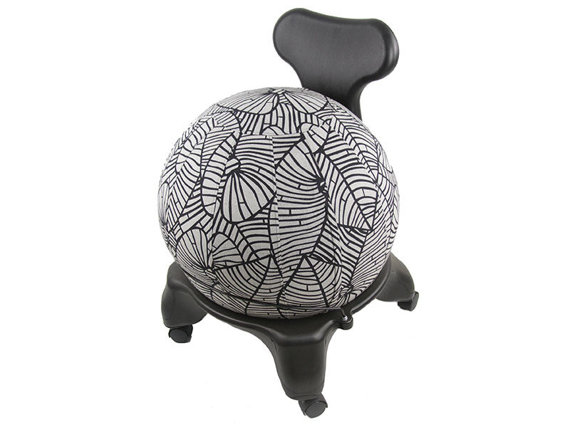 65cm Balance Ball / Yoga Ball Cover: Black & Grey Palm Leaf
