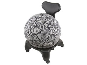 55cm Balance Ball / Yoga Ball Cover: Black & Grey Palm Leaf