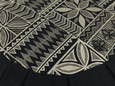 Detail of Retro print zafu meditation cushion in BLACK. Global Groove Life.
