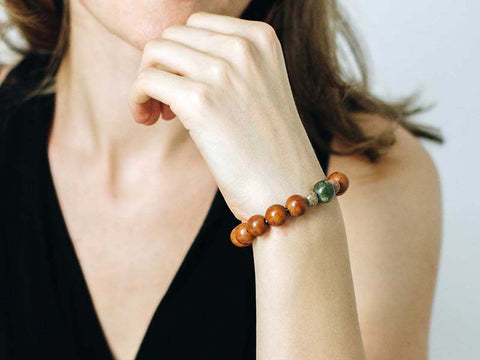 Dragon Eye Bodhi Seed and Unakite Wrist Mala - Global Groove Life