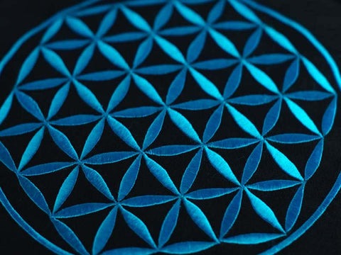 Detail of hand-embroidery on meditation cushion in TURQUOISE Flower of Life design. Made in Thailand.