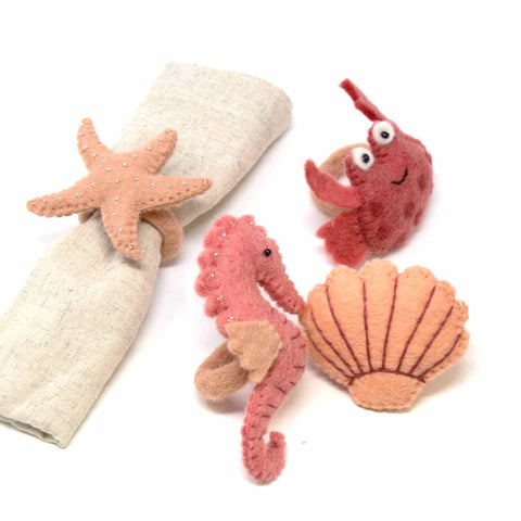 Hand-felted Seashore Napkin Rings, Set of Four Designs - Global Groove (T) - Global Groove Life