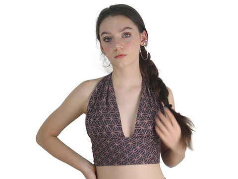 Reversible Halter Top - Flower of Life and Geometric, Grey