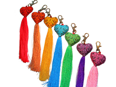 Heart Tassel Key Chain/ Zipper Pull Keychain - Global Groove Life