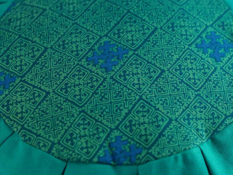 Fabric detail, Zafu meditation cushion. Hmong hill tribe print design in Seafoam.