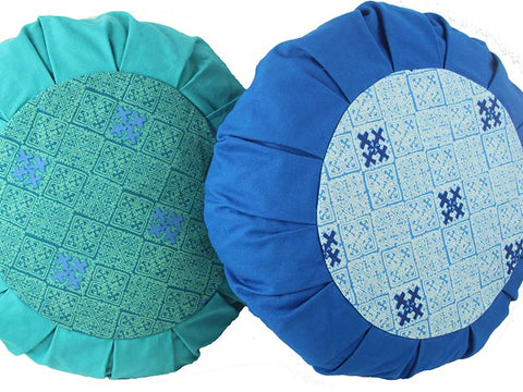Meditation cushion in cotton canvas, Hmong Tribal - SEAFOAM