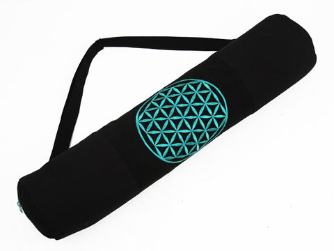 Flower of Life Yoga Mat Bag - TURQUOISE - Global Groove Life