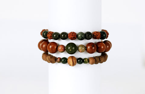 Banyan Seed and Unakite Wrist Mala - Global Groove Life